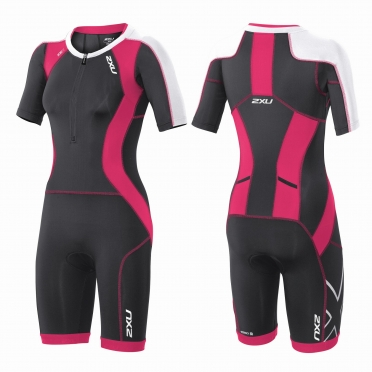 2XU Compression Full Zip sleeved trisuit black/pink women