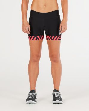 "2XU Perform 4.5"" tri shorts black/red women"
