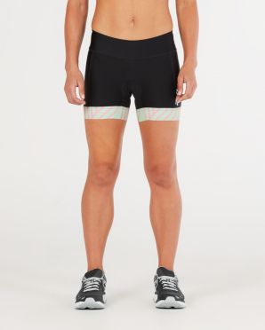 "2XU Perform 4.5"" tri shorts black/mint women"