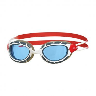 Zoggs Predator blue lens goggles white/red