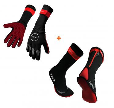 Zone3 Neoprene swim socks and swim gloves bundle