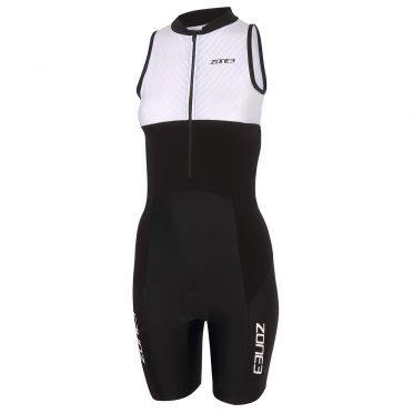 Zone3 Lava long distance sleeveless trisuit black/white women