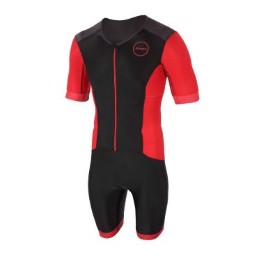 Zone3 Aquaflo plus short sleeve trisuit black/red men