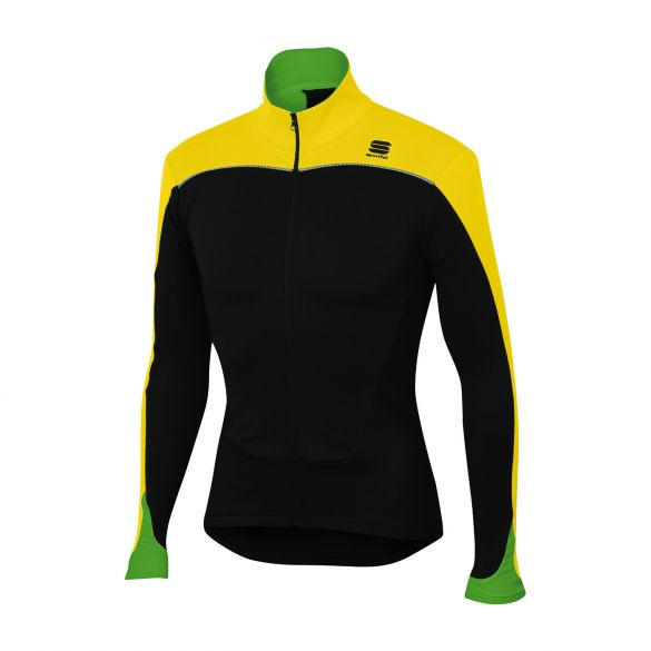 Sportful Force thermal long sleeve jersey black/yellow fluo men  1101276-291
