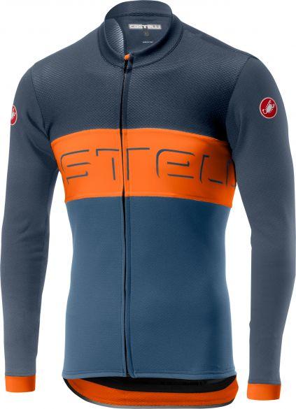 Castelli Prologo VI FZ jersey long sleeve blue/orange men  19016-070