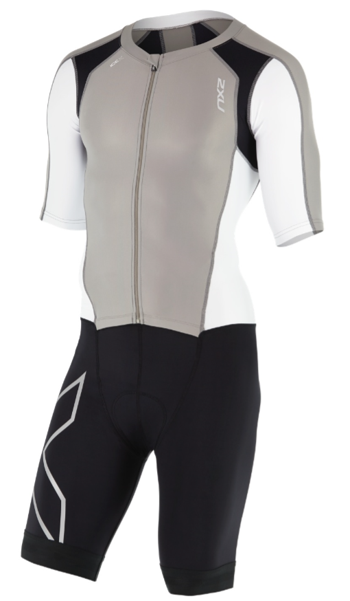 2XU Compression Full Zip sleeved trisuit black/white/grey men  MT4442dFRG/WHT