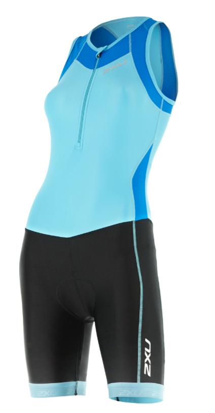 2XU X-vent Trisuit Front Zip light blue/black women  WT4365dBLA/BLK