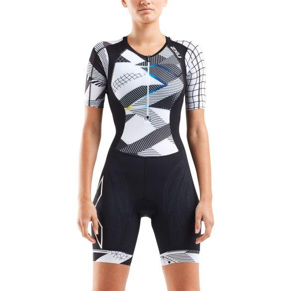2XU Compression short sleeve trisuit black/white women  WT5521D-BLK/CRO