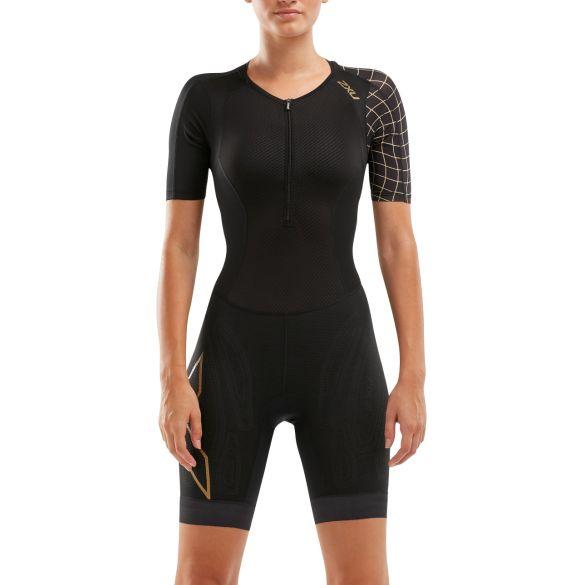 2XU Compression short sleeve trisuit black/gold women  WT5521D-BLK/GLD