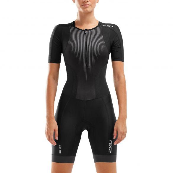 2XU Perform short sleeve trisuit black women  WT6060D-BLK/SDW