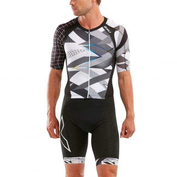 2XU Compression short sleeve trisuit black/white men  MT5516D-BLK/CRO