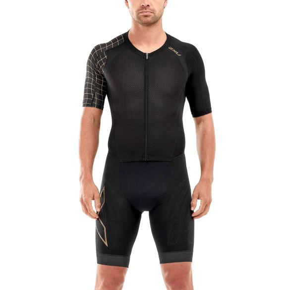 2XU Compression short sleeve trisuit black men Kopie  MT5516D-BLK/GLD