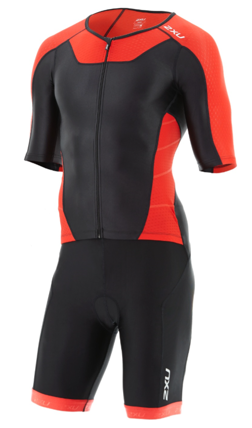 2XU X-vent Sleeved Full Front Zip Trisuit black/red men  MT4355dBLK/TRD