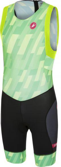 Castelli Short distance race trisuit back zip sleeveless pro green/black men  18111-084