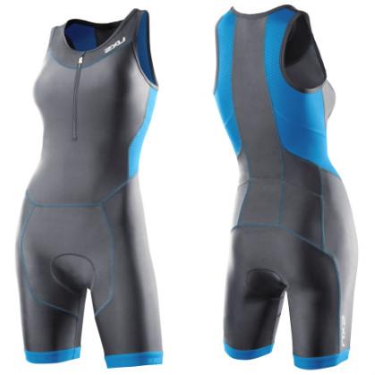 2XU Perform tri suit ladies 2014 WT2707d Charcoal/Ultramarine blue  2XUWT2707DCHBL