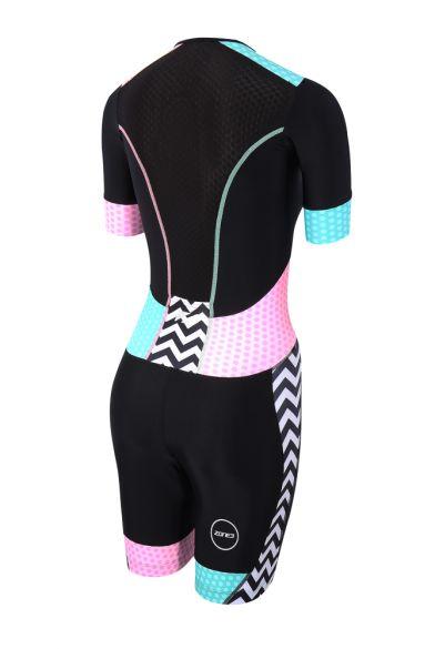 869d98a0643 Zone3 Activate plus short sleeve trisuit Zebra fly women TS18WACPS101