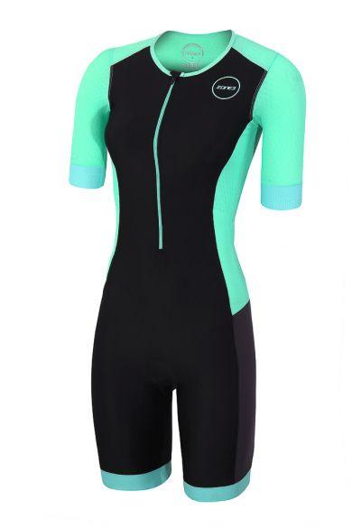 Zone3 Aquaflo plus short sleeve trisuit black/mint women  TS18WAQPS109