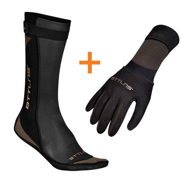 BTTLNS Neoprene swim socks and swim gloves bundle black/gold  0121009+0121010-087