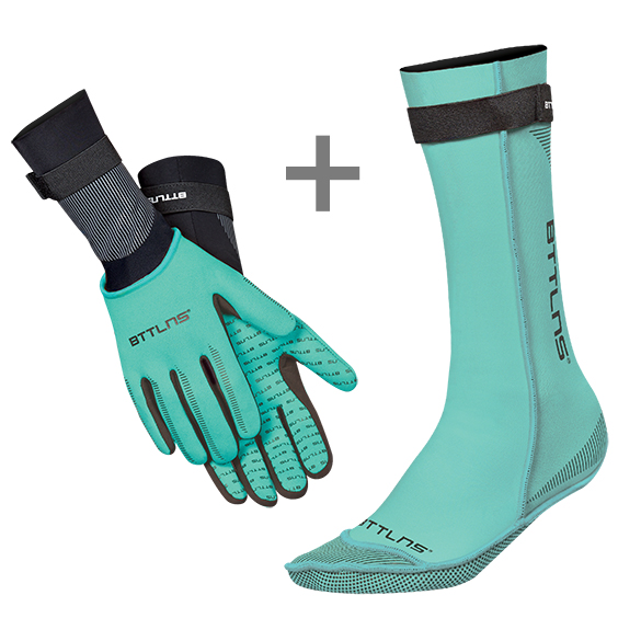 BTTLNS Neoprene swim socks and swim gloves bundle mint  0121006+0121007-036