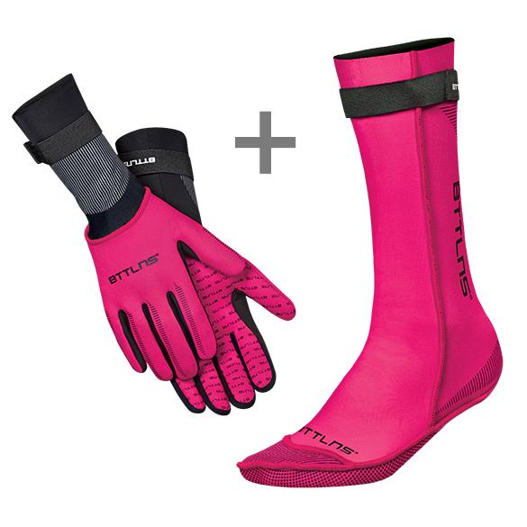 BTTLNS Neoprene swim socks and swim gloves bundle pink  0120011+0120012-072