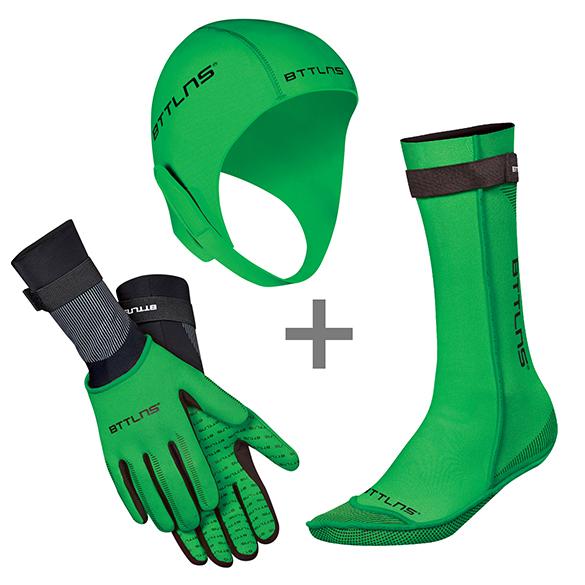 BTTLNS Neoprene accessories bundle green  0120010+0120011+0120012-040