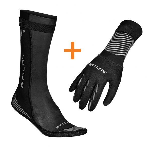BTTLNS Neoprene swim socks and swim gloves bundle  0120011-010+0120012-010