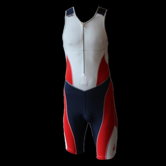 Ironman trisuit front zip sleeveless bodysuit white/blue/red men  IM8507-03/41