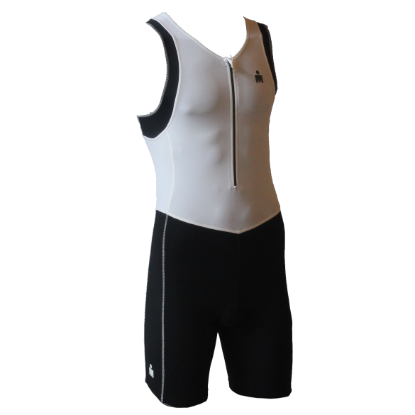 Ironman trisuit front zip sleeveless B9 white/black men  IMB950-03/15