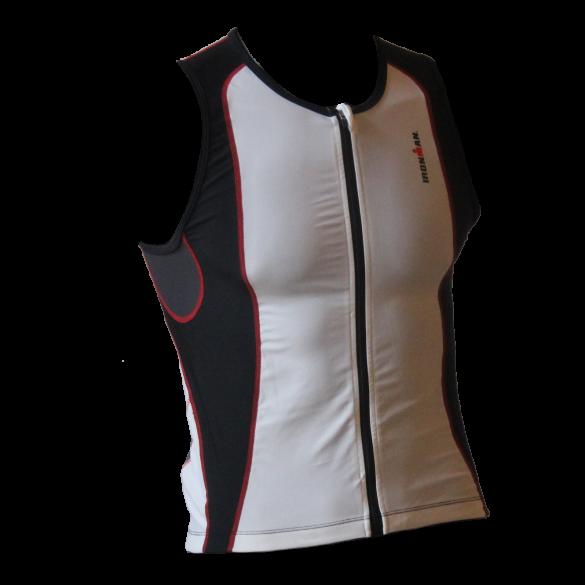 Ironman tri top front zip sleeveless 2P white/black men  IMT0203-03/15