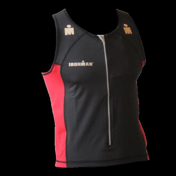 Ironman tri top front zip sleeveless T-zip black/rood men  IMT525-15/05