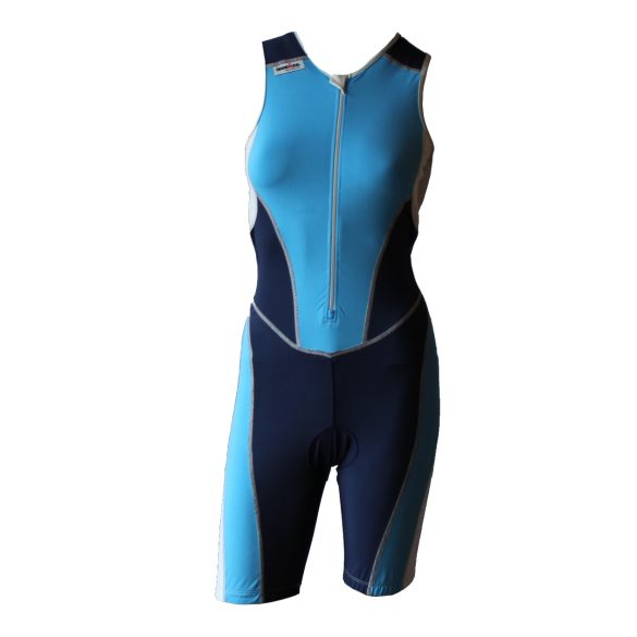 Ironman trisuit front zip sleeveless bodysuit blue women  IMW8517-50/41