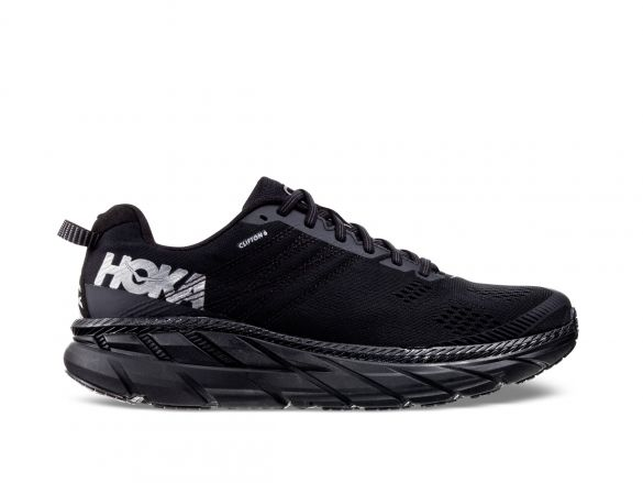 Hoka One One Clifton 6 running shoes black men  1102872-BLK
