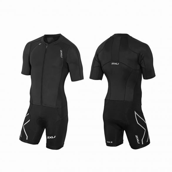 2XU Compression Full Zip sleeved trisuit black men  MT3613d