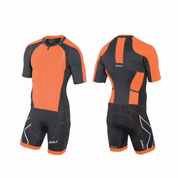 2XU Compression Full Zip sleeved trisuit orange/black men   MT3613d