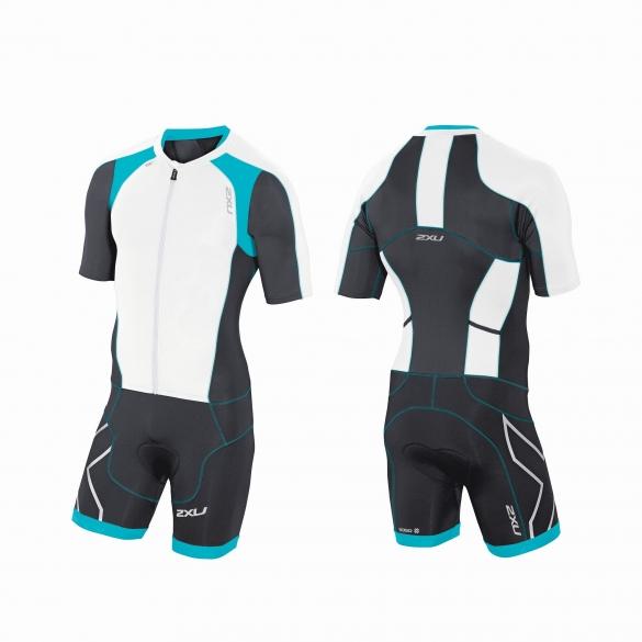 2XU Compression Full Zip sleeved trisuit white/black/bue men    MT3613d