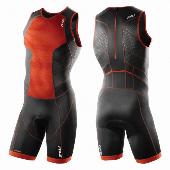 2XU Perform Rear Zip trisuit orange/black men         MT3860d