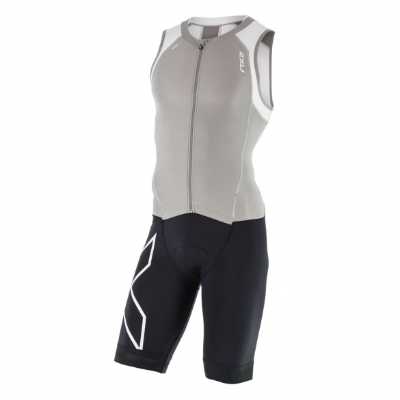 2XU Compression Full Zip trisuit black/grey/white men  MT4443dFRG/WHT