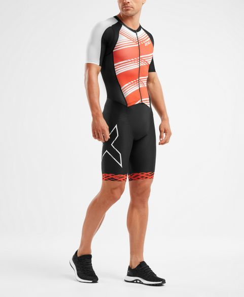 2XU Compression short sleeve trisuit black/red men  MT5516D-BLK/WFL