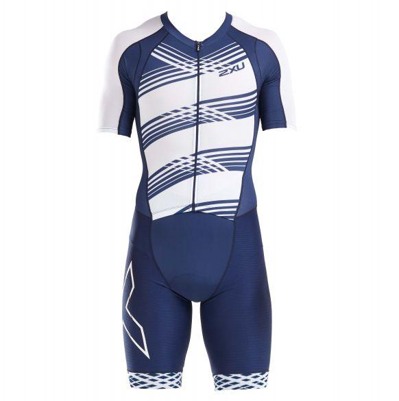 2XU Compression short sleeve trisuit blue/white men  MT5516D-NVY/NWL