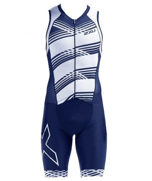 2XU Compression sleeveless trisuit blue/white men  MT5517D-NVY/NWL
