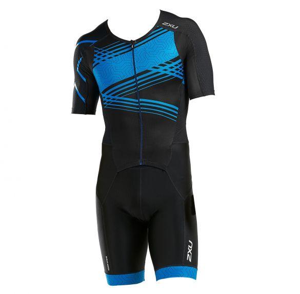 2XU Perform short sleeve trisuit black/blue men  MT5525d-BLK/SBP
