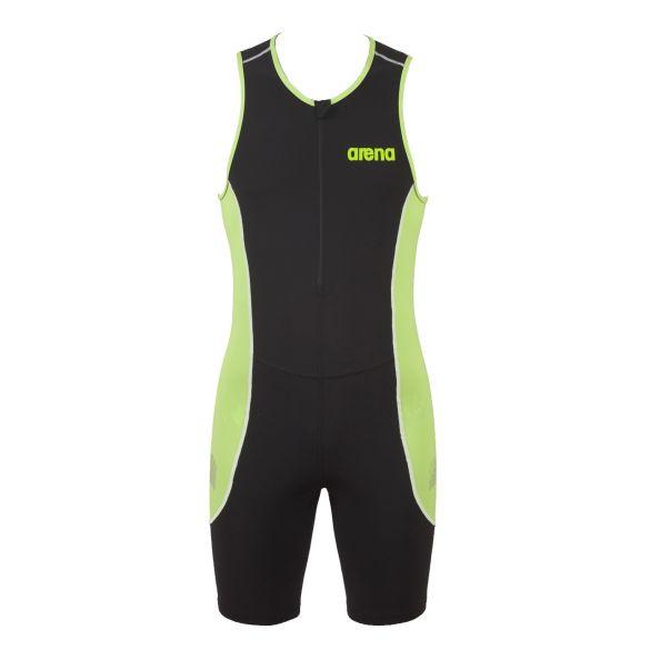 Arena ST front zip sleeveless trisuit black/green men  AR25052-56