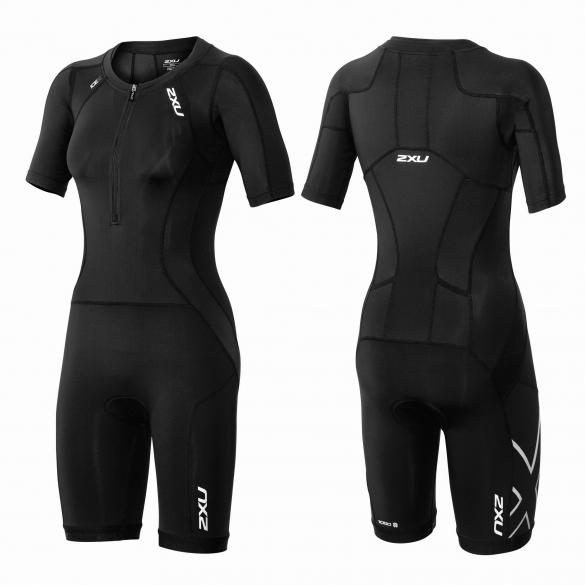2XU Compression Full Zip sleeved trisuit black women  WT3618d