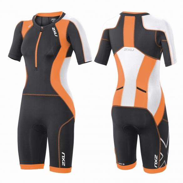 2XU Compression Full Zip sleeved trisuit orange/black women  WT3618d