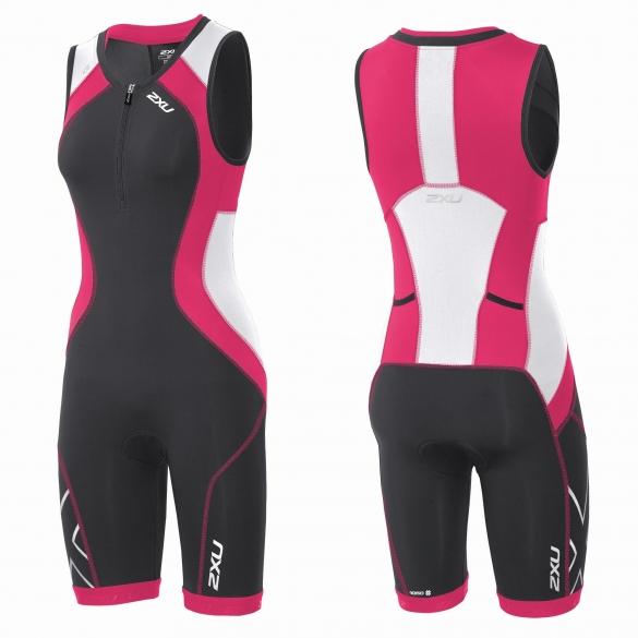2XU Compression Full Zip trisuit black/pink women   WT3619d
