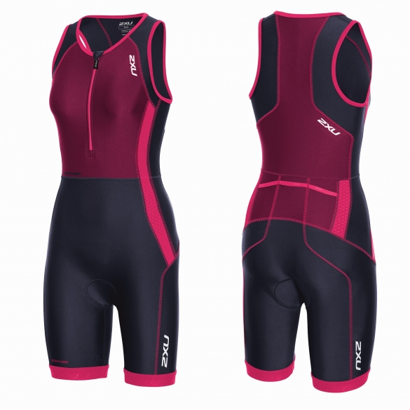 2XU Perform Front Zip trisuit black/purple/pink women   WT3635d
