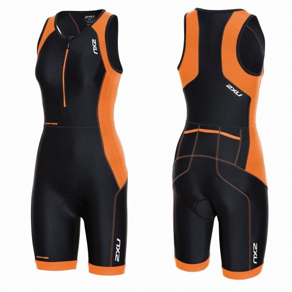 2XU Perform Front Zip trisuit black/orange women    WT3635d