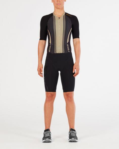 2XU Project X short sleeve trisuit black/gold women  WT4836d-BLK/GTG