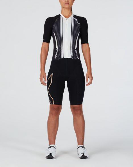2XU Project X short sleeve trisuit black/white women  WT4836d-BLK/WTG