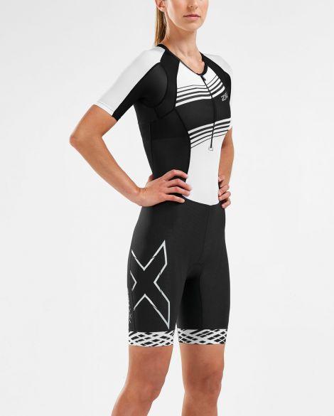 2XU Compression short sleeve trisuit black/white women WT5521D  WT5521d-BLK/BWL